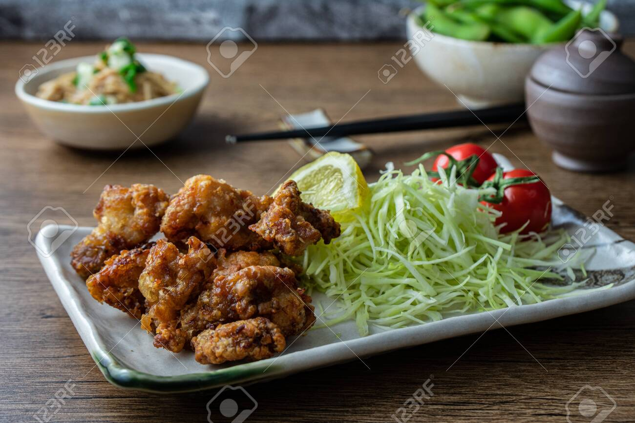 Karaage fried chicken, a popular fast food in Japan consisting of battered and deep fried chicken thighs. - 149445895