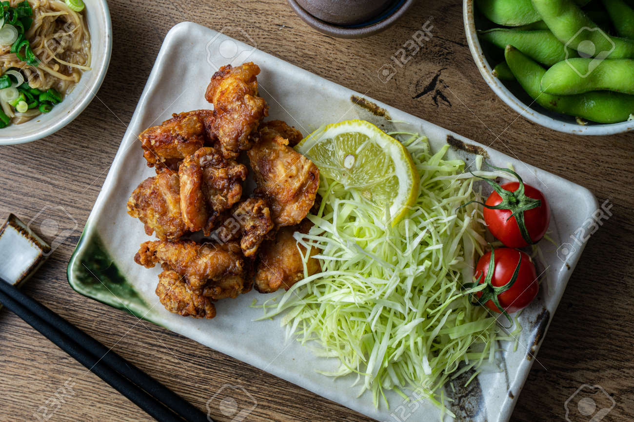 Karaage fried chicken, a popular fast food in Japan consisting of battered and deep fried chicken thighs. - 149445897