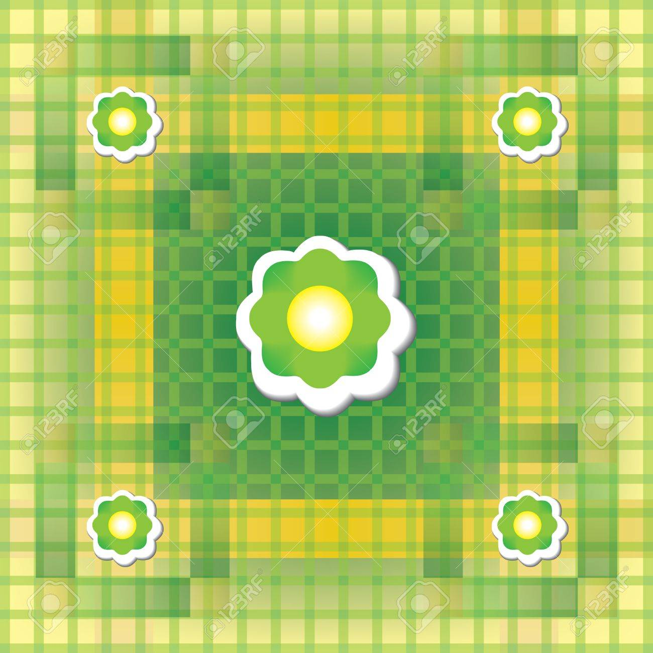Seamless green and yellow pattern with flower Stock Vector - 12796844