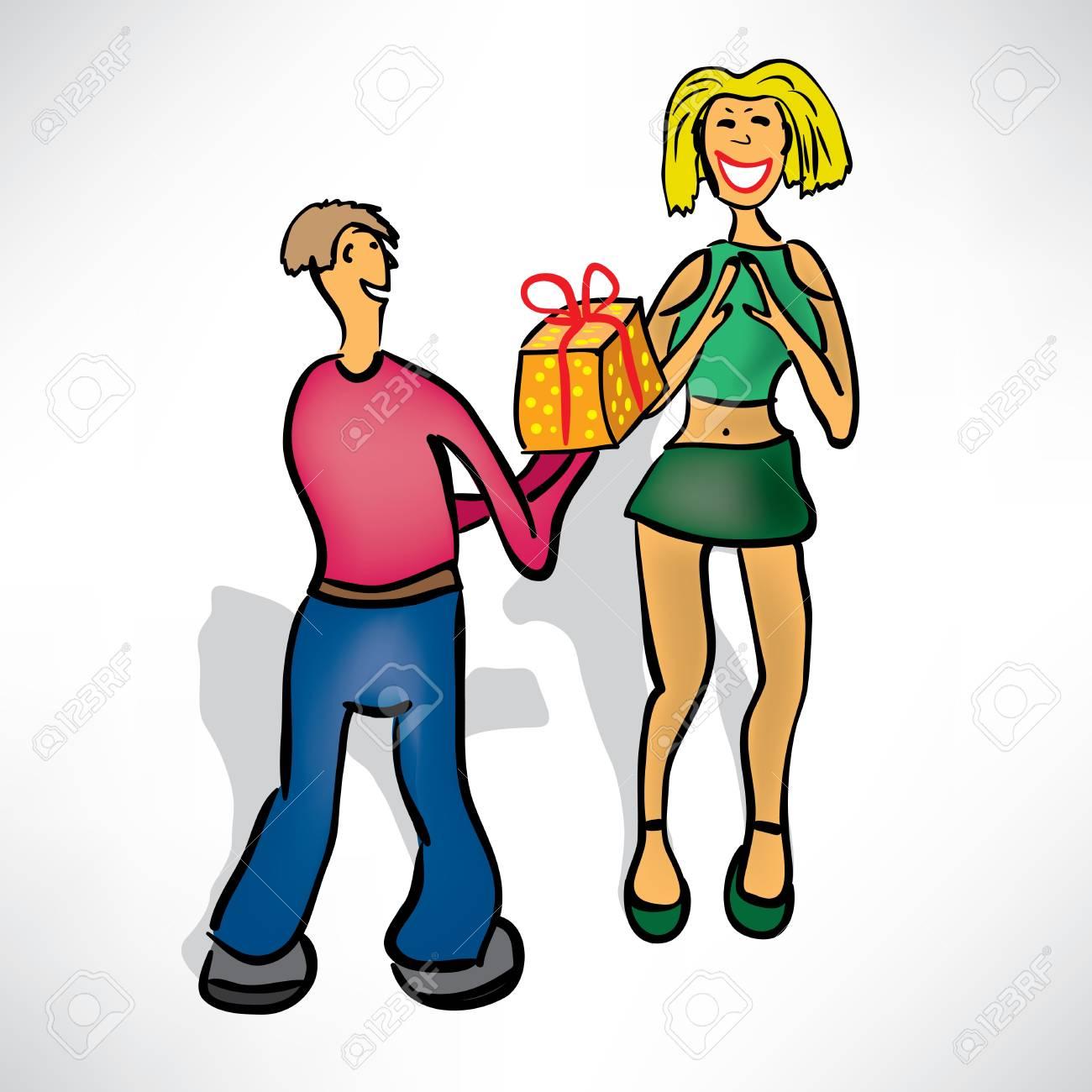 Man gives girl a gift Stock Vector - 12982779