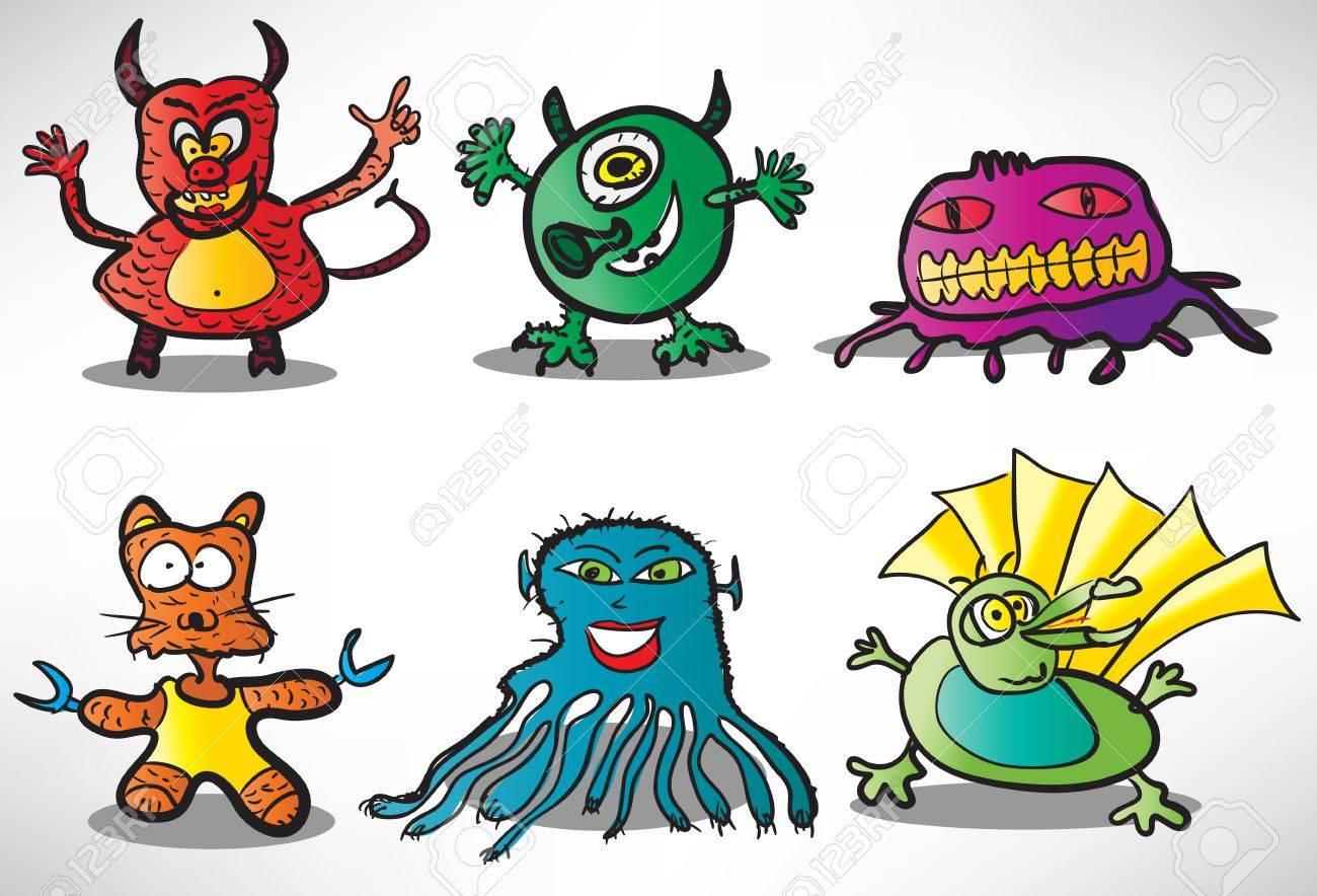 Set of cartoon funny monsters 2 Stock Vector - 16278970