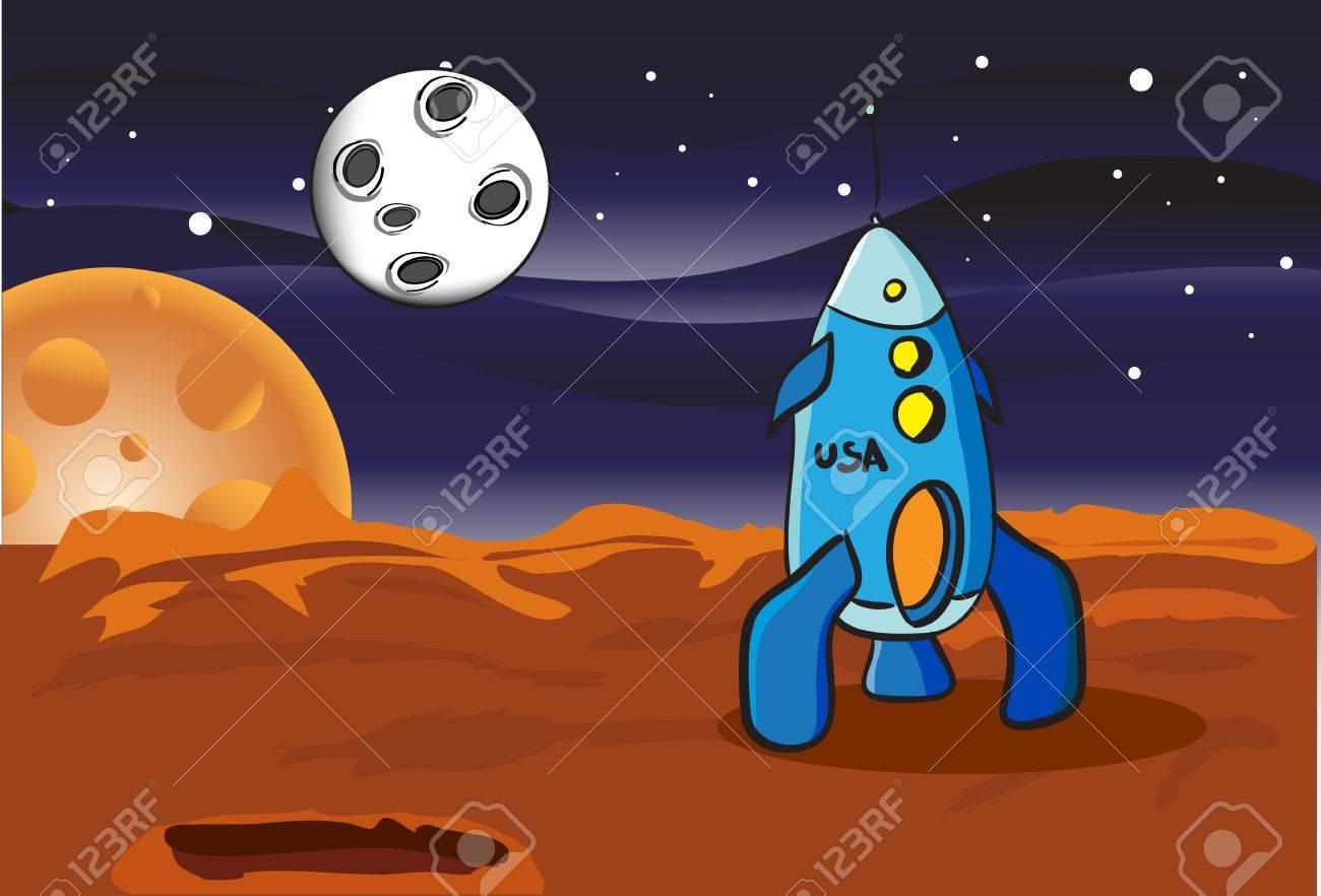 American space rocket on Mars Stock Vector - 16859836