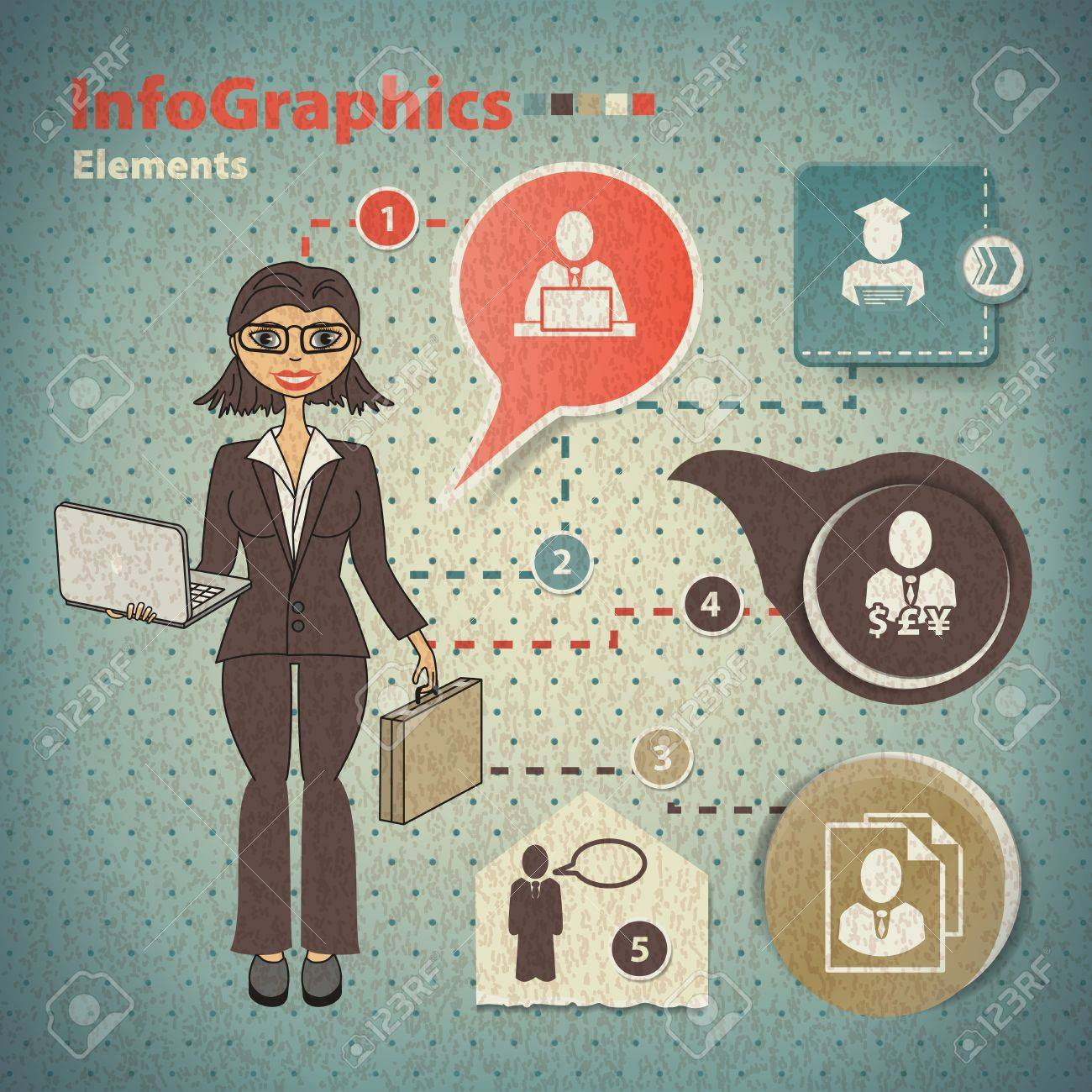 Set of elements for infographics with business woman Stock Vector - 20635245