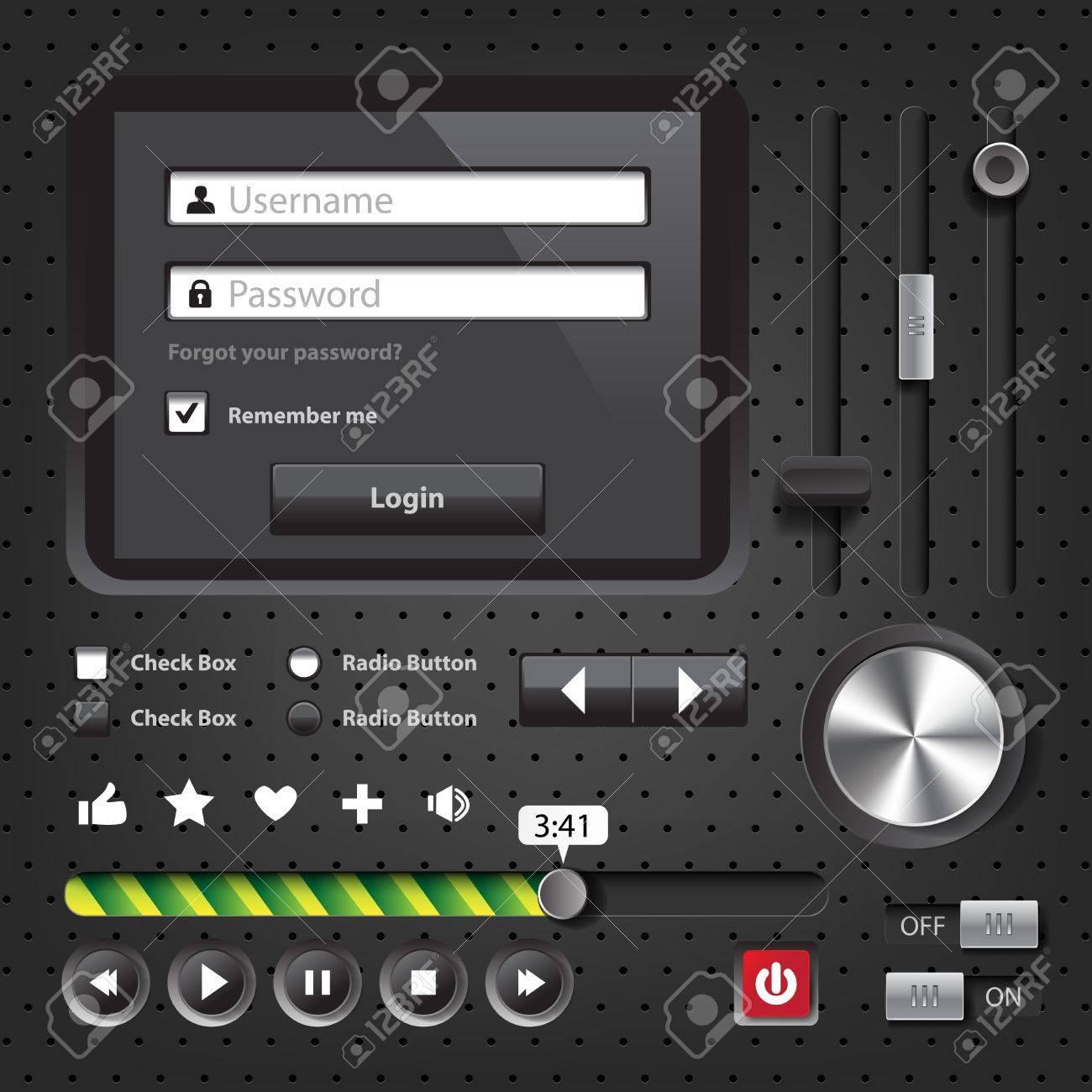 Design elements Dark User Interface Controls with login window Stock Vector - 20653415