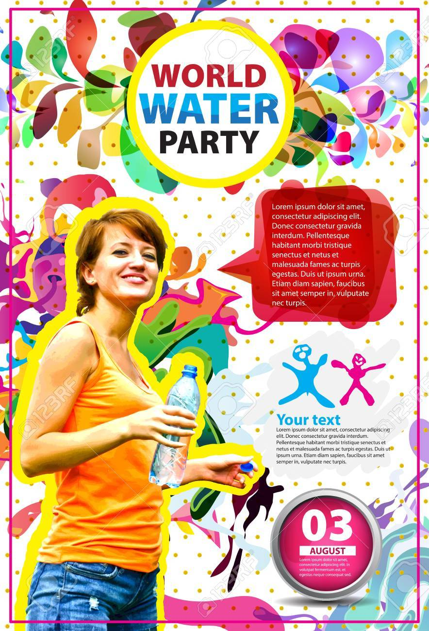 Beach Party Flyer Template | Summer Beach Party Vector Flyer Template Royalty Free Cliparts