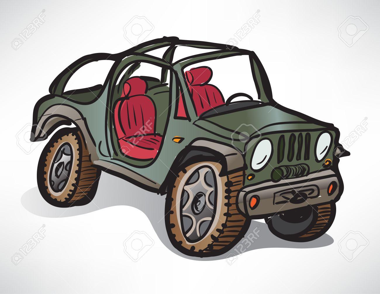 図面のオフロード車ジープ カーキのイラスト素材ベクタ Image 27501386