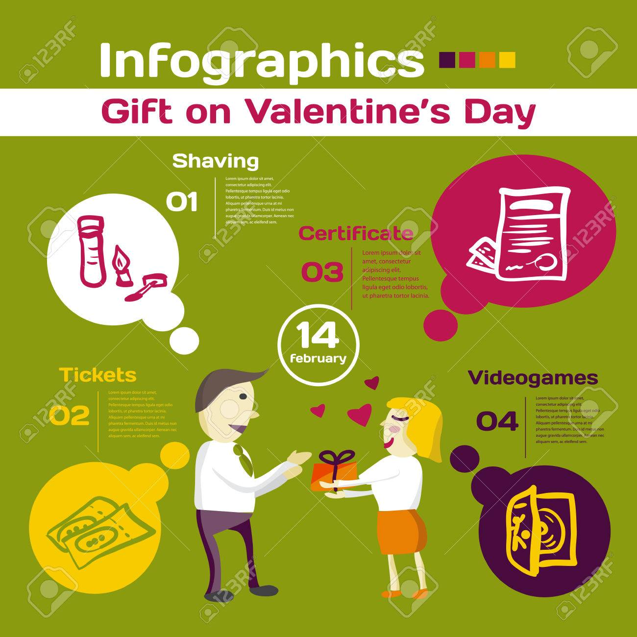 Vector Elements For Infographic. Template For Gift On Valentine\'s ...