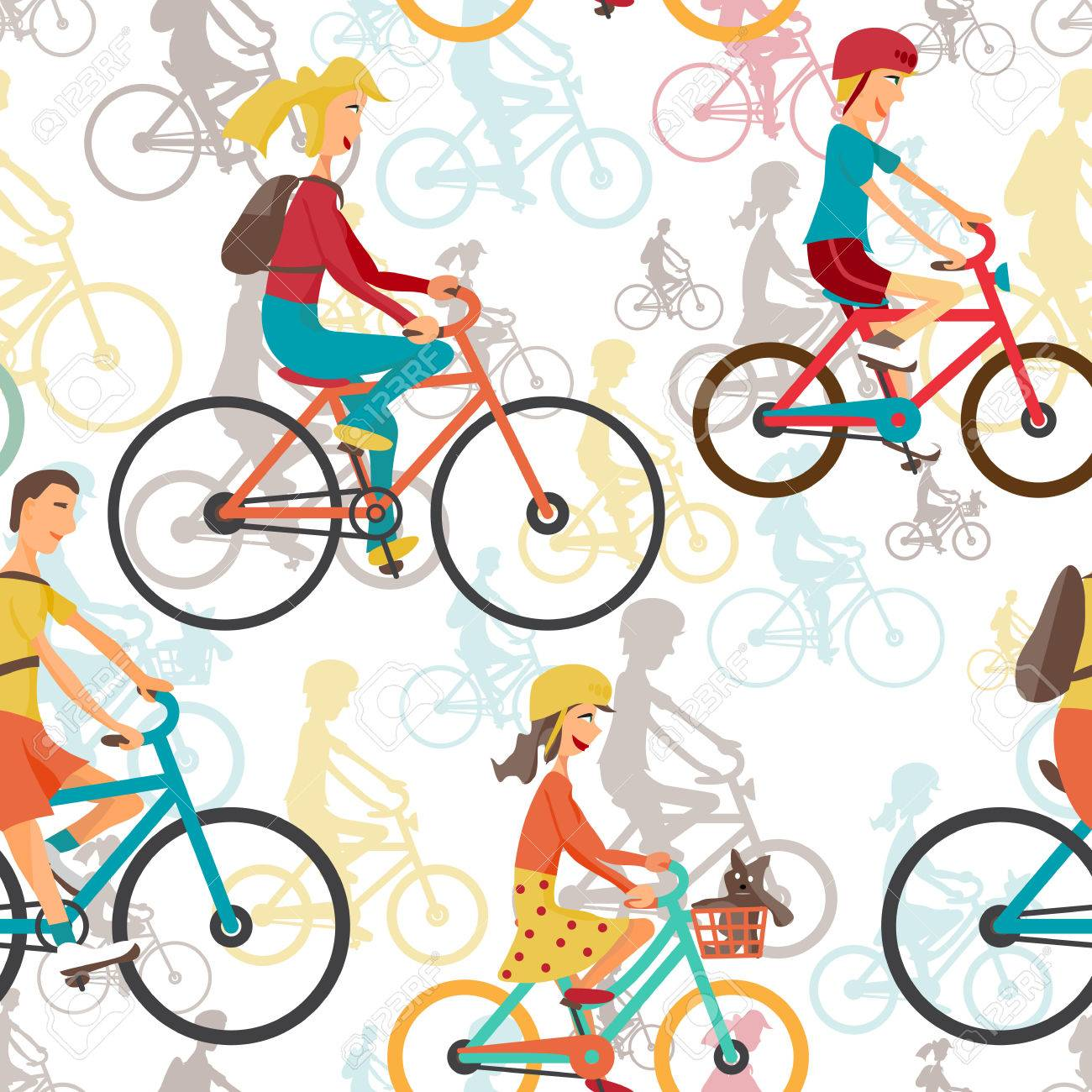 Patrón Sin Fisuras Textiles Con La Familia A Andar En Bicicleta ...