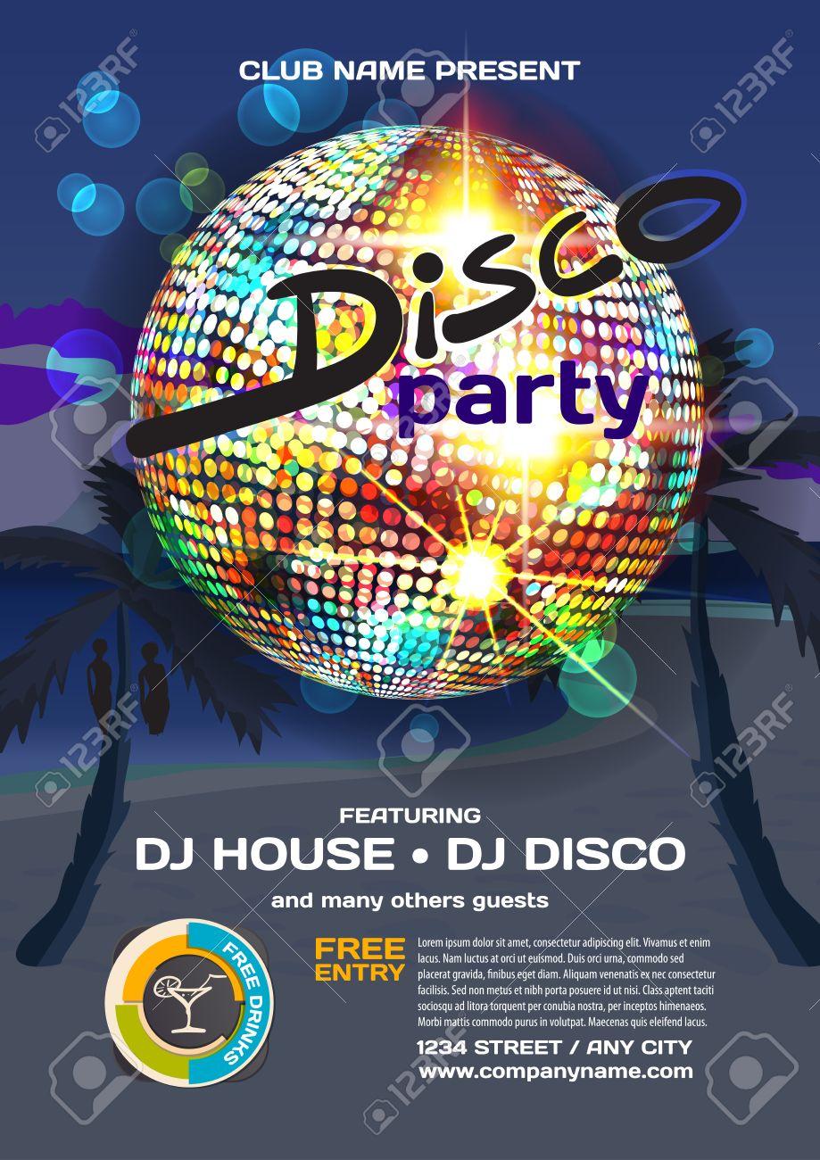 9c36d2c0c16b Estilo del disco invitación del partido del verano del vector. Playa de la  noche, las palmeras, la bola de discoteca carteles, invitaciones o ...