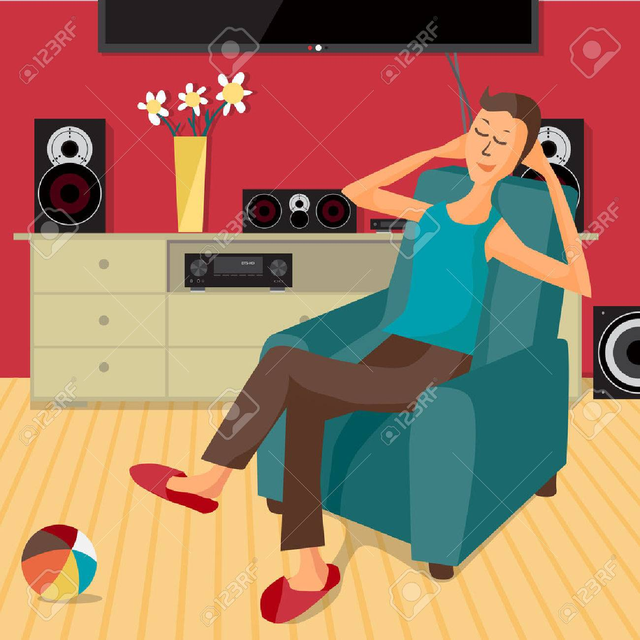 modern flat design man listens to music at home using a stereo system cartoon character