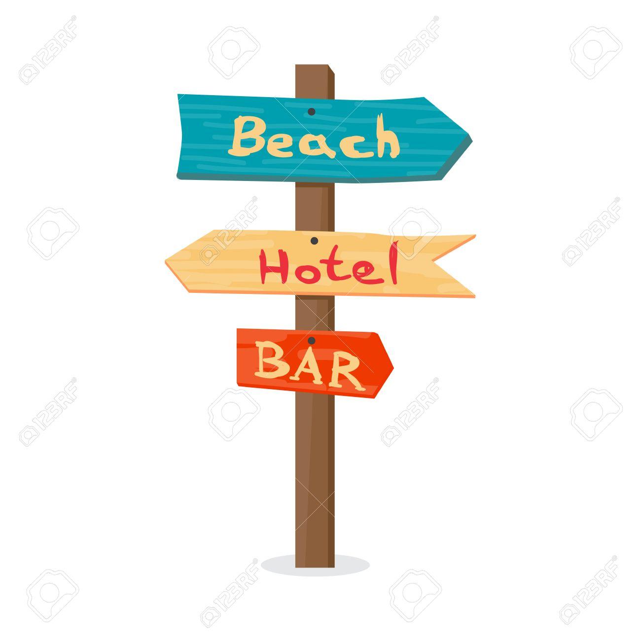 Pointeur En Bois Vers La Plage L Hôtel Au Bar Panneau D Affichage D été Illustration Vectorielle De Dessin Animé Sur Fond Blanc Isolé