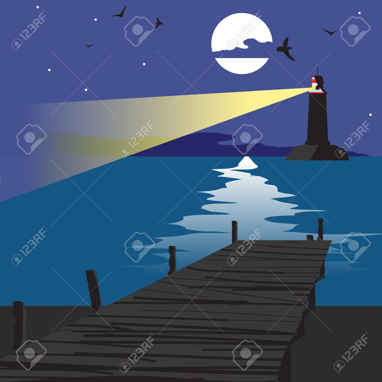 Summer Beach Landscape At Night With A Wooden Pier And Lighthouse Shining In The Distance