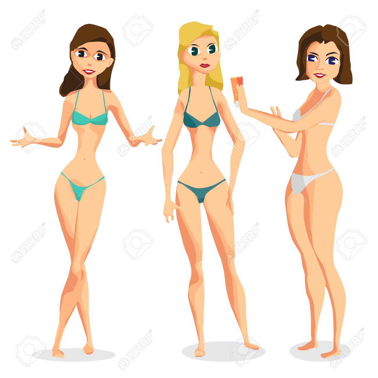 Impostare Tre Donne Vestite In Costume Da Bagno è In Piedi Prendere ...
