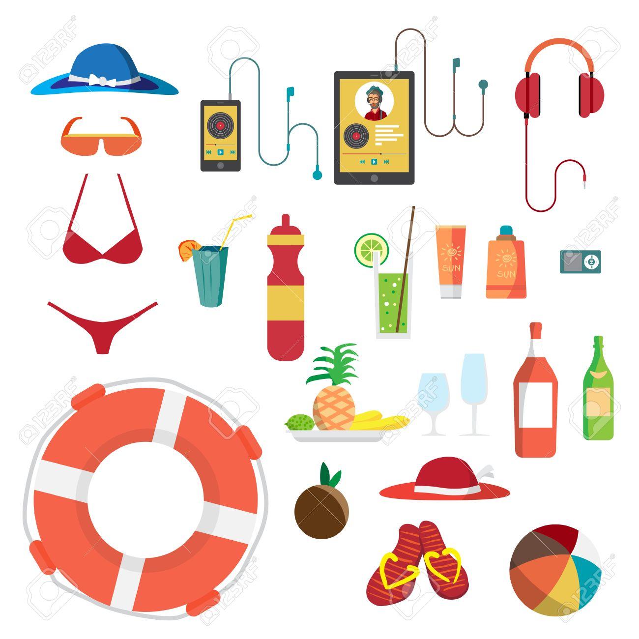 conjunto de objetos de playa de verano vacaciones de verano