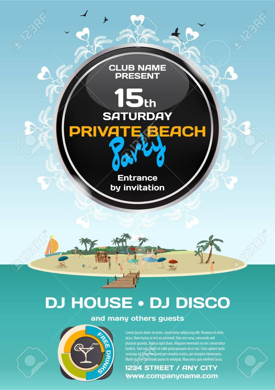 Summer Party Invitation Private Beach. Day Beach, Bar, Pier ...