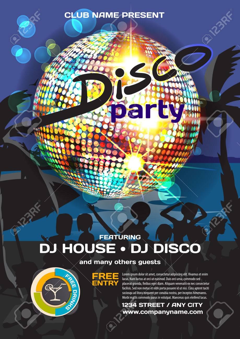 7cf75102db7c Estilo del disco invitación de la fiesta de verano. Playa de la noche,  Multitud mujeres en bikini, palmeras, la bola de discoteca carteles, ...