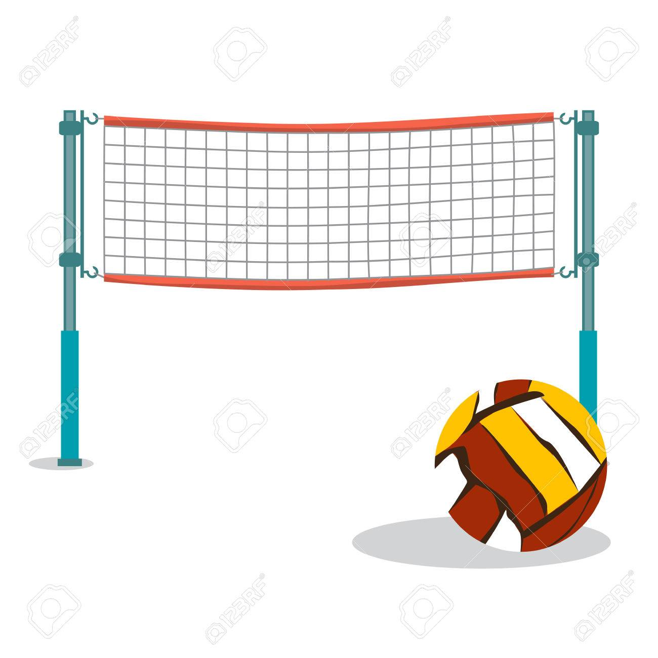 Beach Volleyball And Net Flat Cartoon Vector Illustration On Royalty Free Cliparts Vectors And Stock Illustration Image 58465242