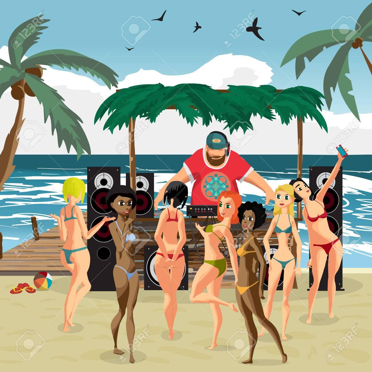 69ad4a4d2ea0 Estilo de playa invitación de la fiesta del verano del vector. Día de  playa, con sistema de sonido dj, muchedumbre mujeres en bikini. Carteles,  ...