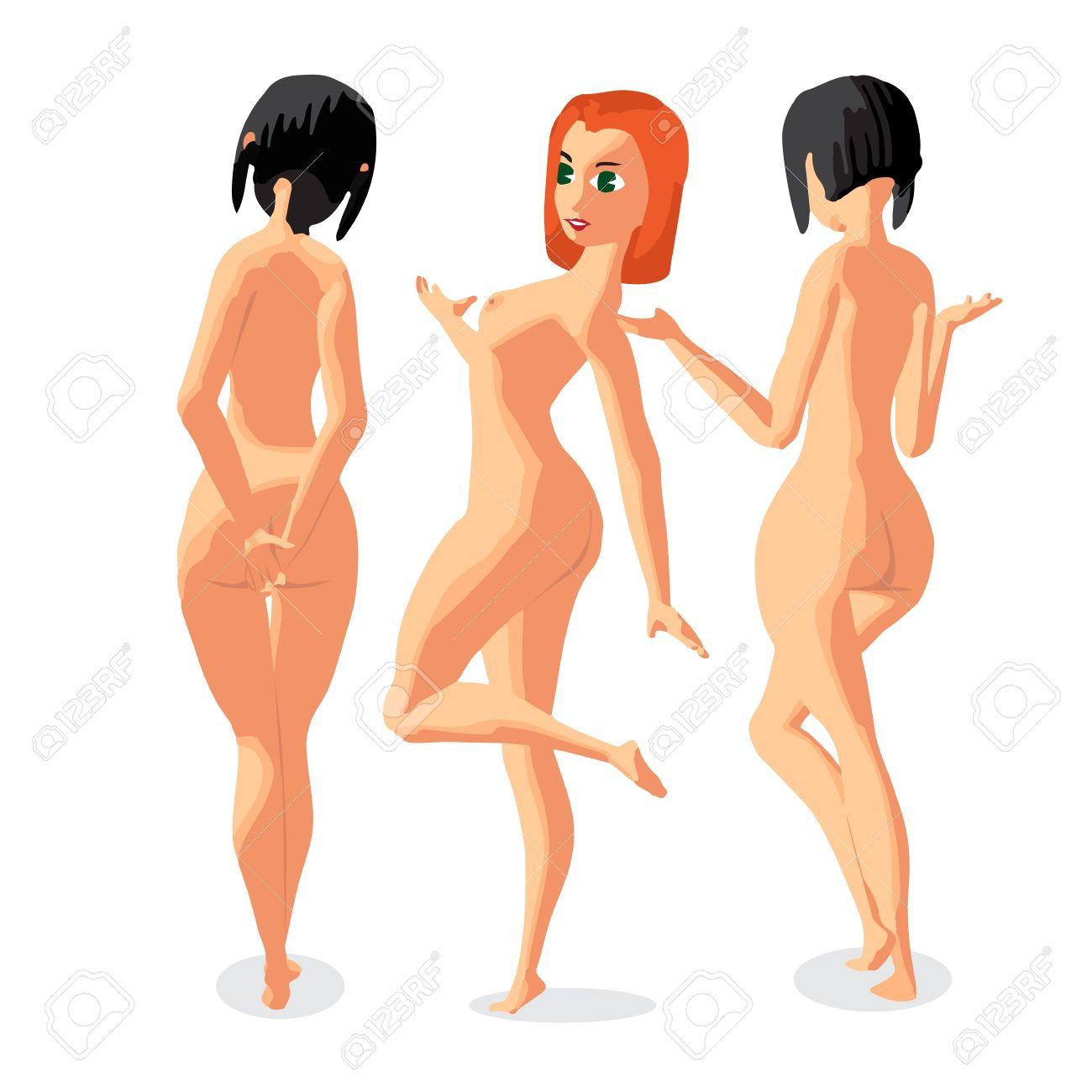 セットの 3 人の女性のヌーディストは立って日光浴です 背面図 フラットの漫画イラストを分離しました 裸のビーチで漫画の女の子のイラスト素材 ベクタ Image