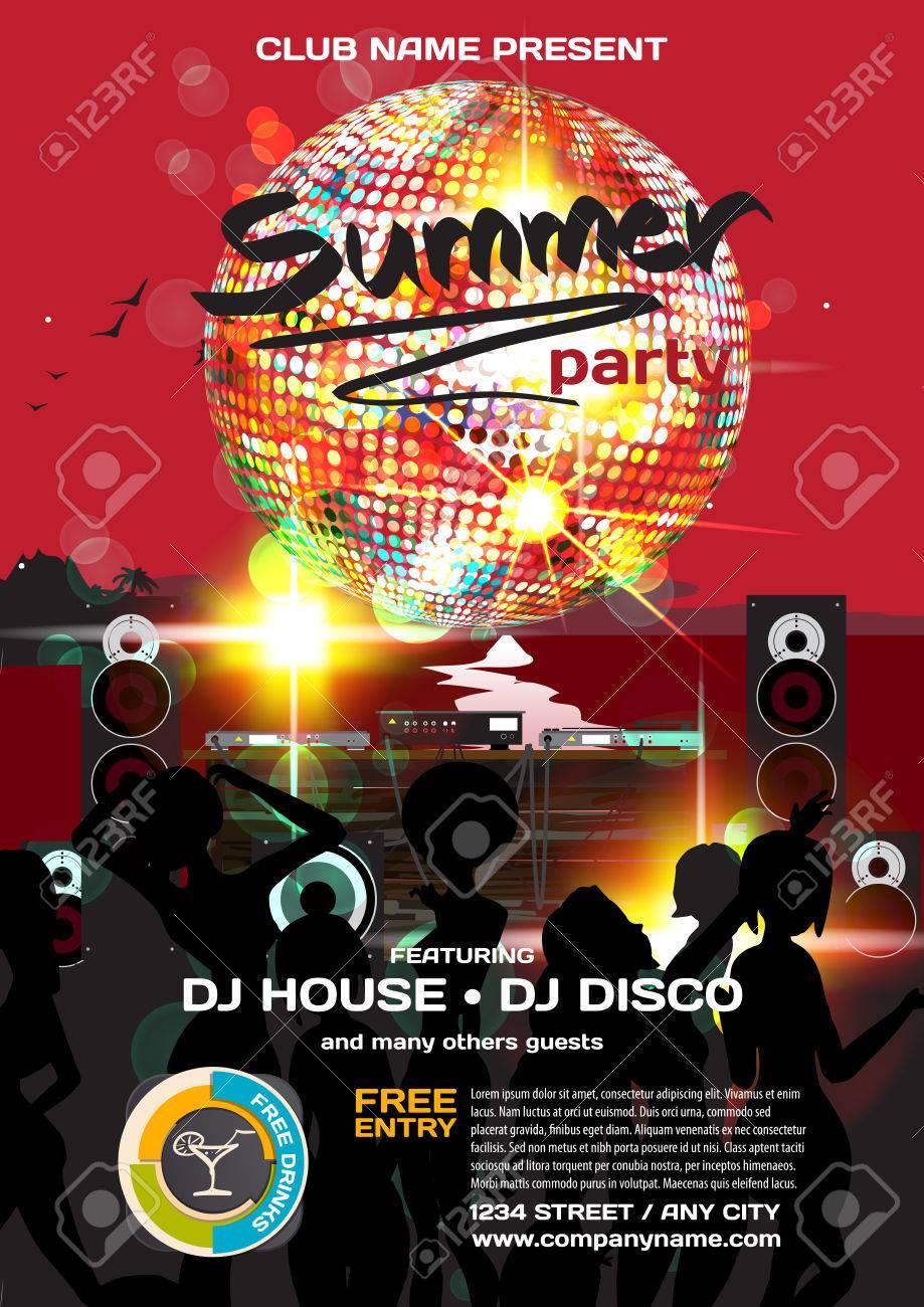 21405897d5cf Estilo del disco invitación del partido del verano del vector. Noche de  playa, dj, mujeres, bola de discoteca plantilla carteles o folletos.