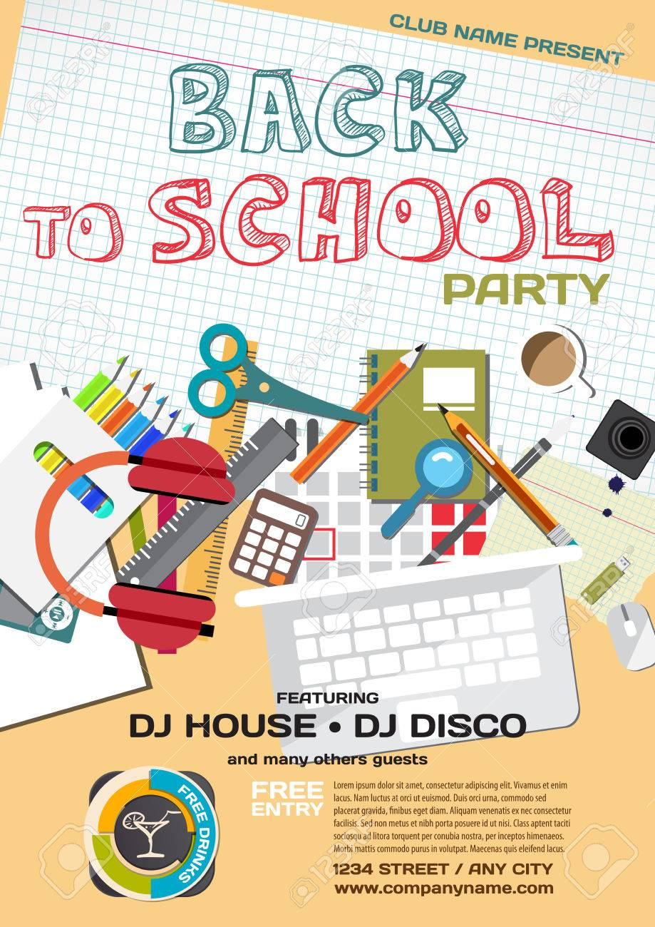 Vector school party invitation disco style meeting of graduates vector vector school party invitation disco style meeting of graduates high school students school items stationery stopboris Image collections