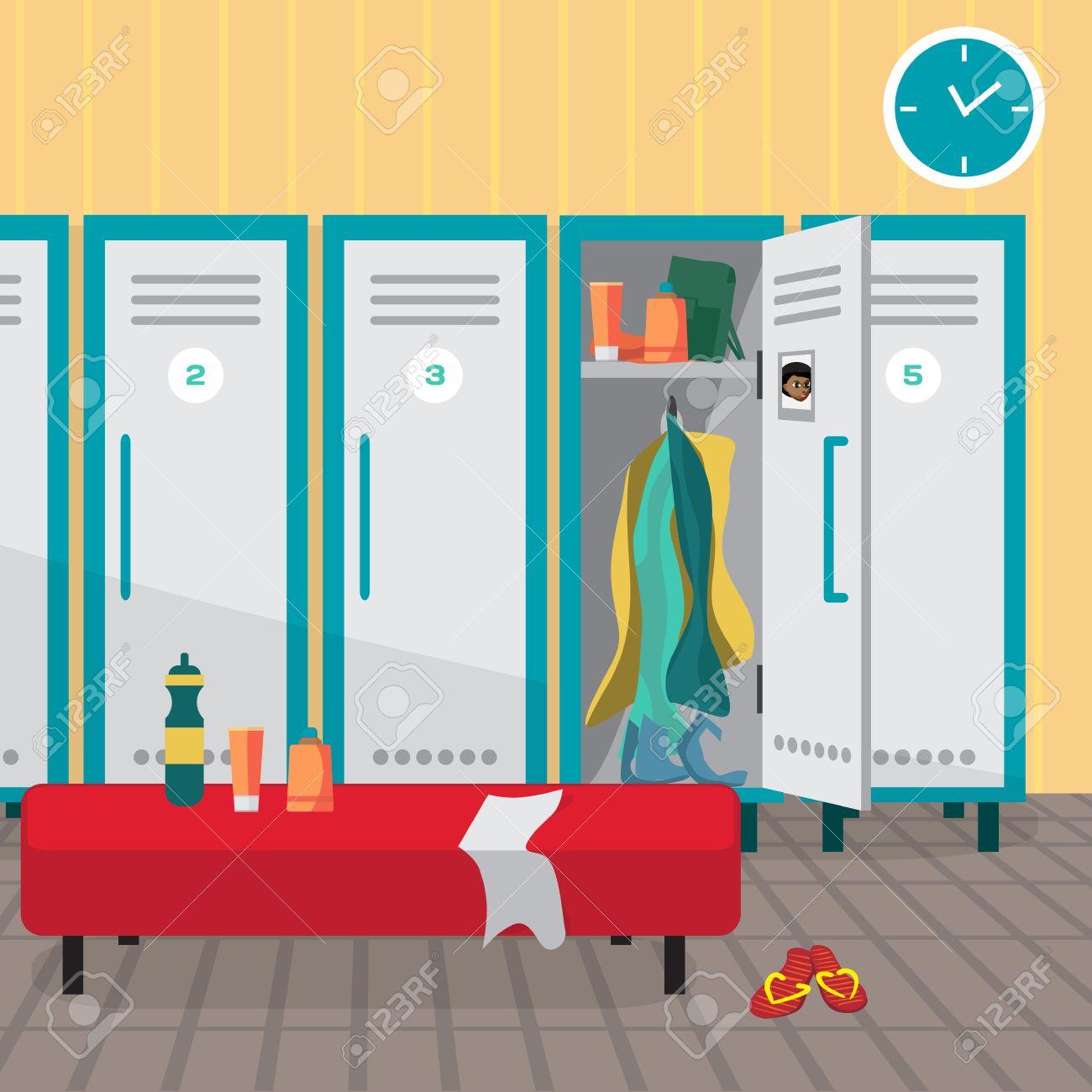 Interior Of A Gym Locker Room Dressing Place Fitness Club Vector Flat Cartoon