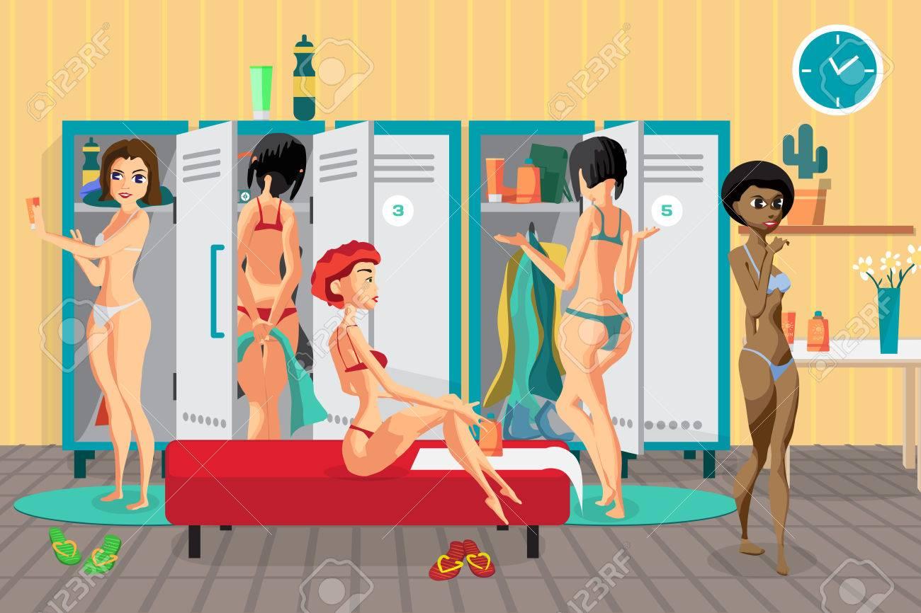 Women\'s Locker Room In The Spa Salon. Girls Dress In The Dressing ...