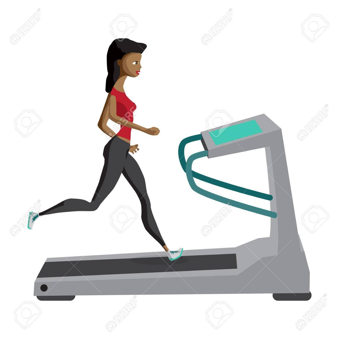 Femme Noire Courir Sur Tapis Roulant Sport Fitness Athletisme