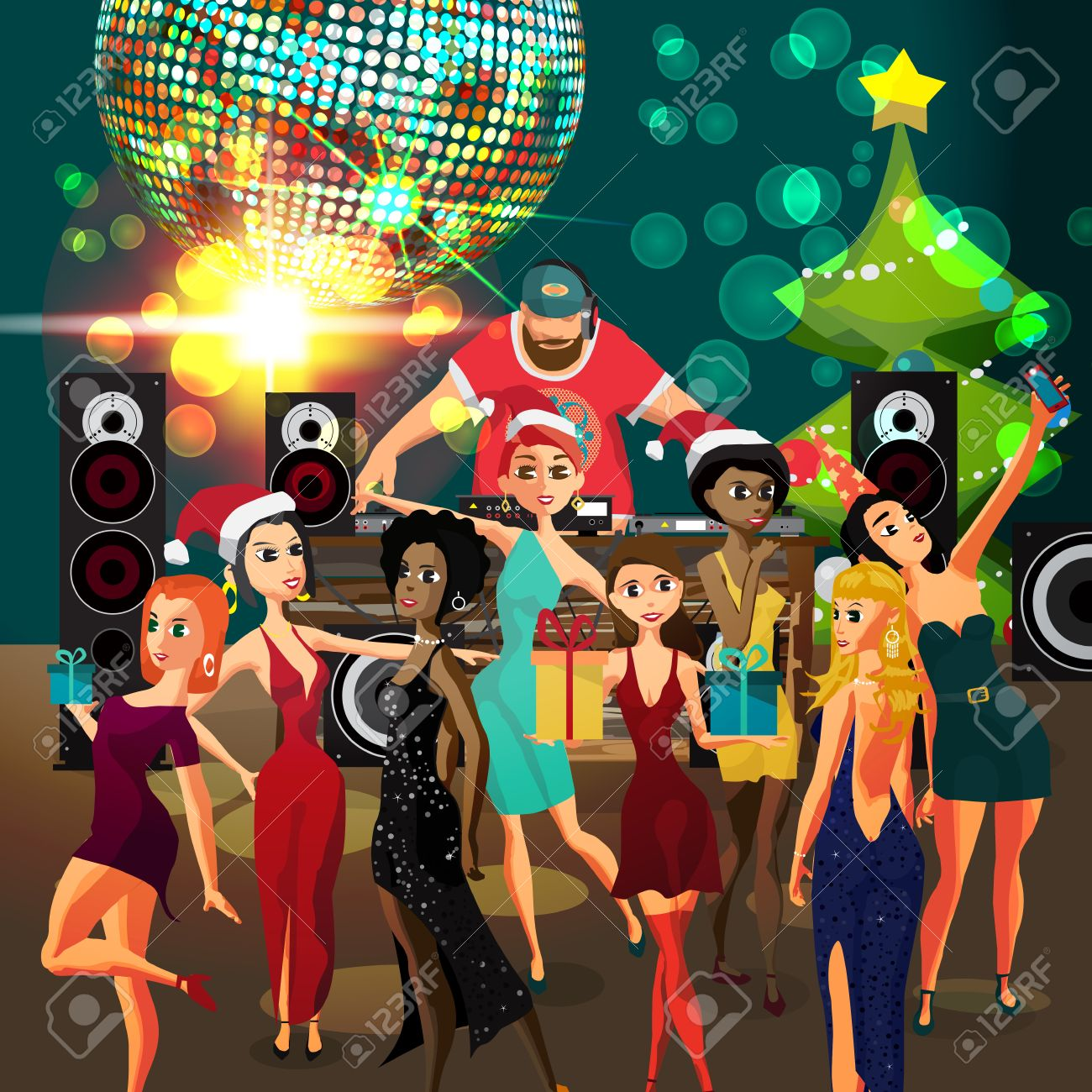 vector vector christmas new year party invitation disco style club dj with sound system crowd women in festive dresses vector template party poster
