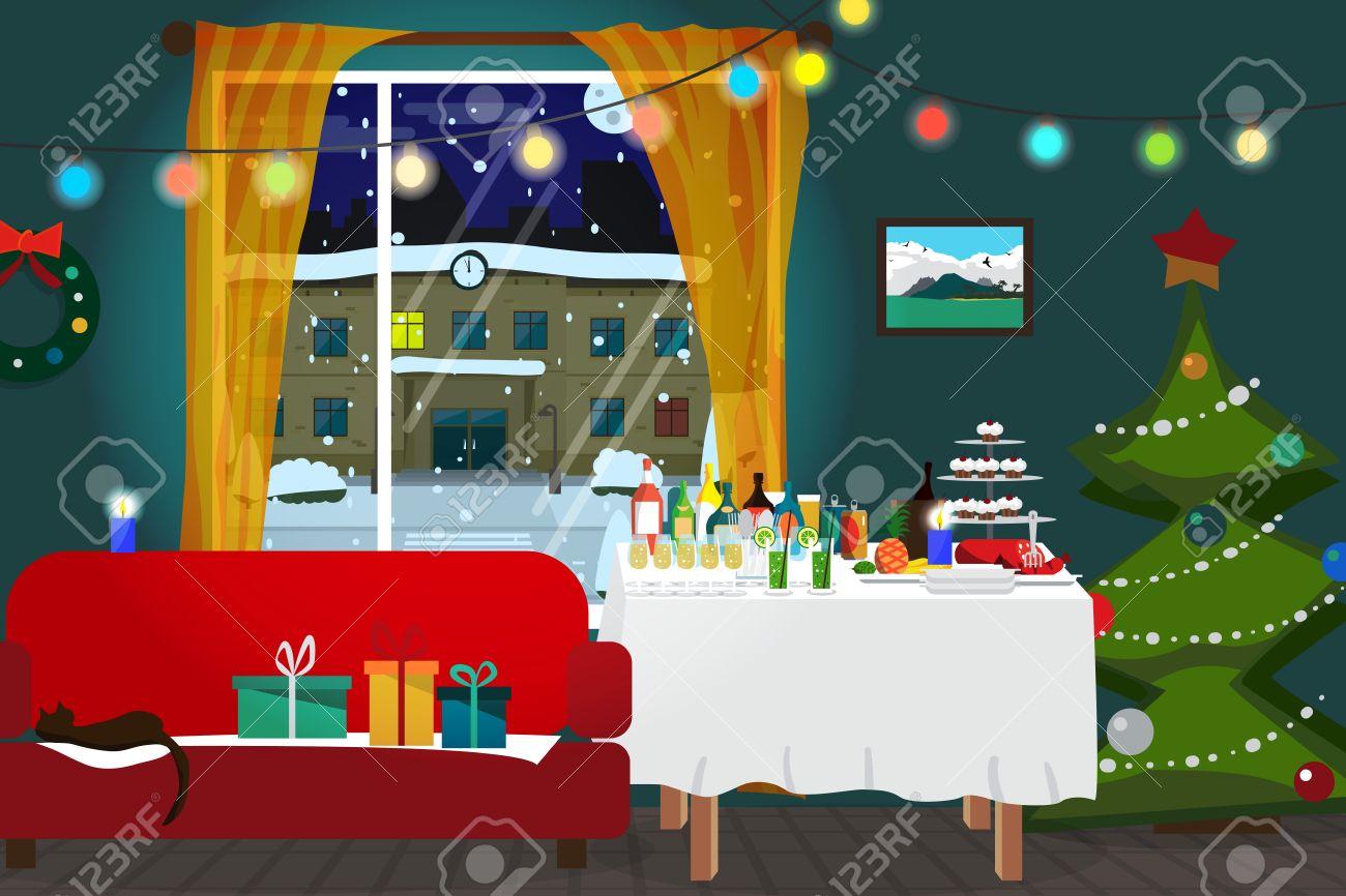 Salle De Noel Interieur Arbre De Noel Table De Buffet Cadeaux Et