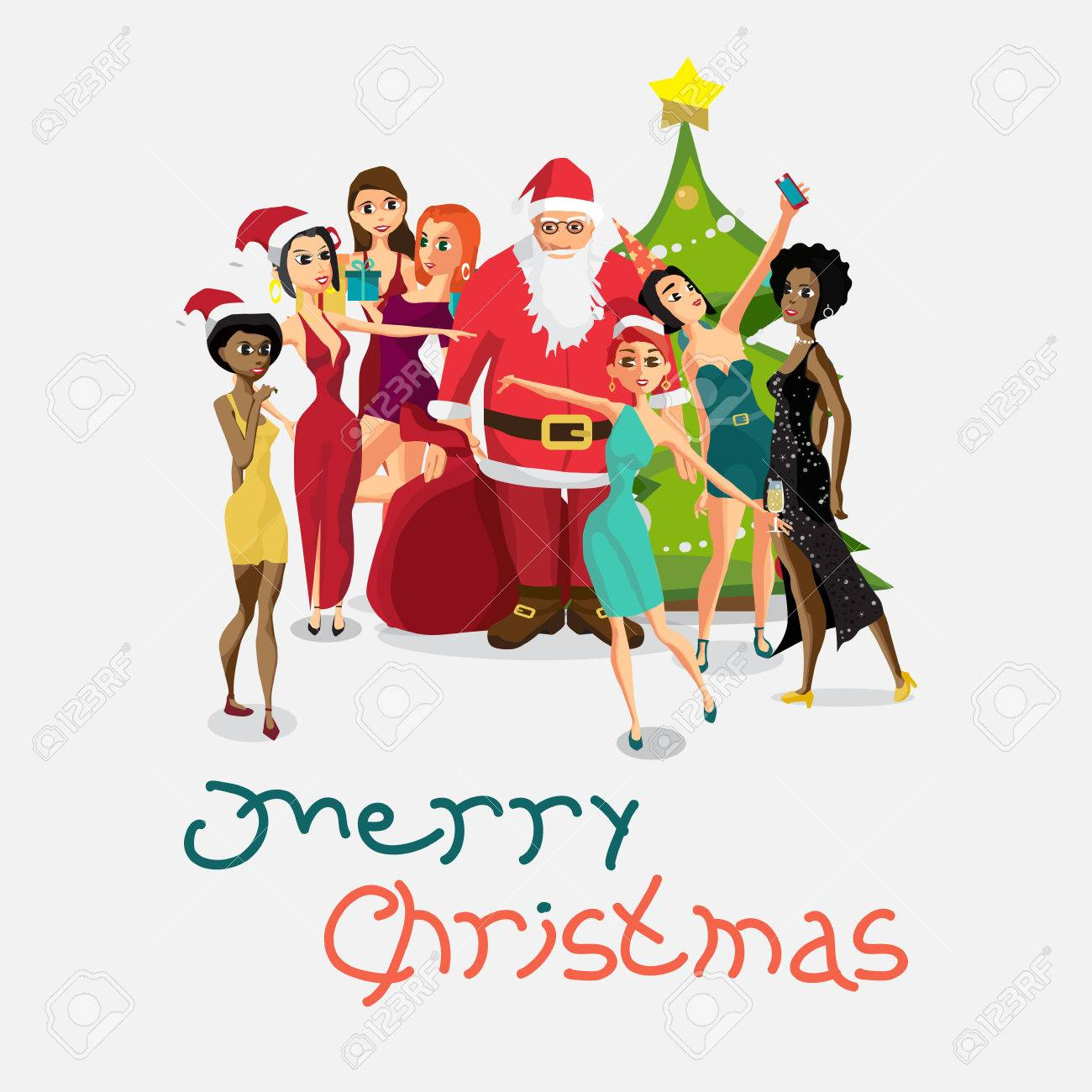vector vector christmas new year party invitation santa claus is photographed with a group of girls cartoon flat style greeting card