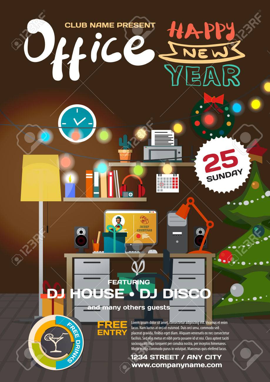 Vector Christmas Party Invitation Disco Style In Office. Template ...