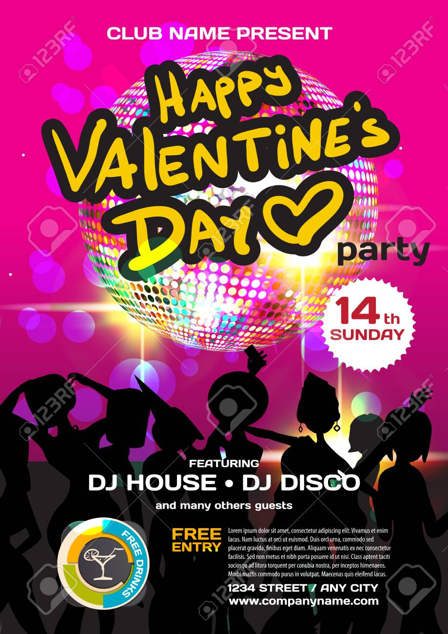 Vector Valentine S Day Party Invitation Disco Style Night Club