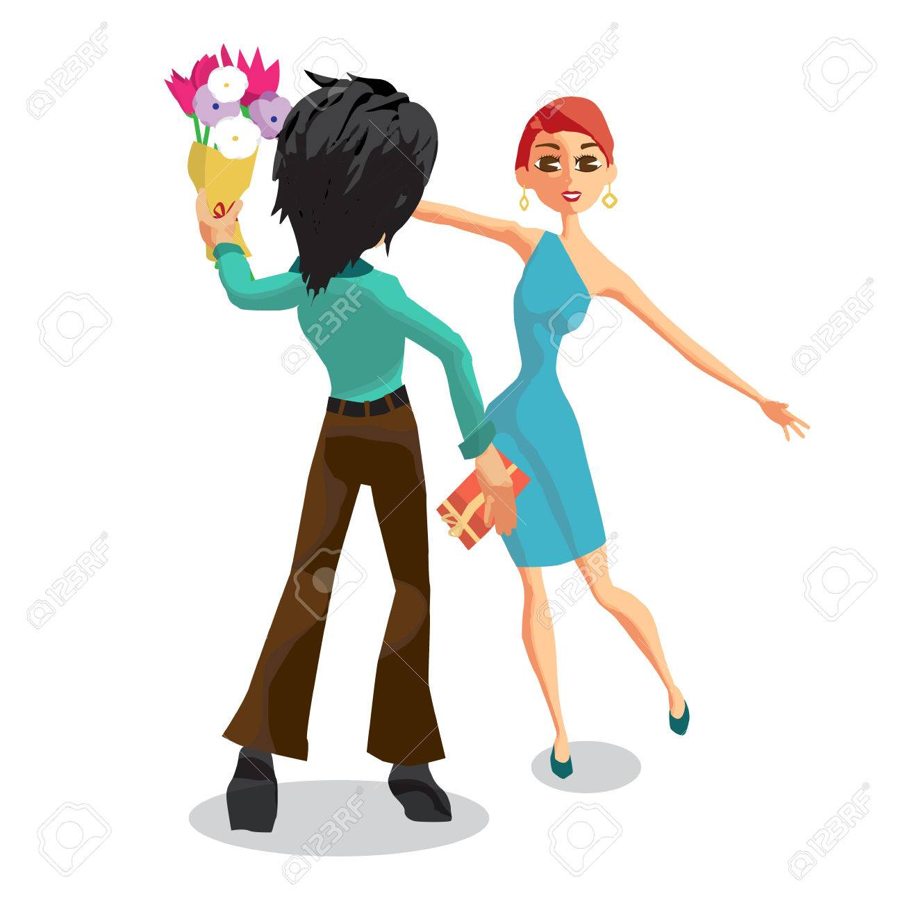 The young man gives a woman a bouquet of flowers back view happy stockfoto the young man gives a woman a bouquet of flowers back view happy birthday valentines day flat isolated vector illustration izmirmasajfo Choice Image