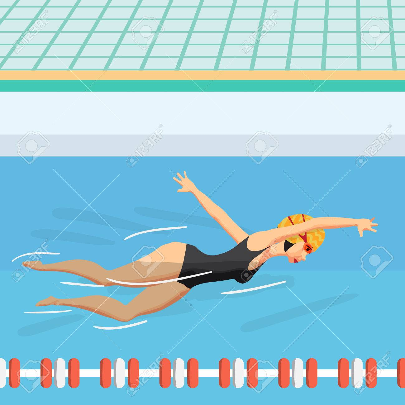 Young Woman In Sports Swimsuit Swims In The Pool Front Crawl Royalty Free Cliparts Vectors And Stock Illustration Image 70843193