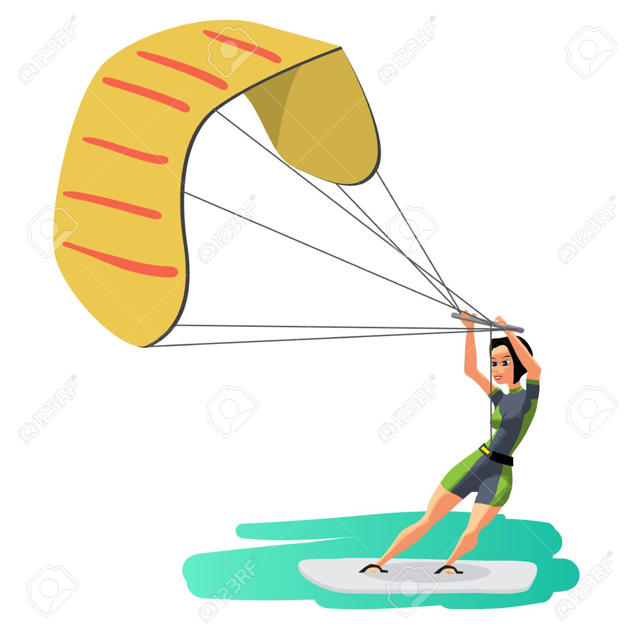 Woman Drive At Kite Surfing Girl Windsurfing On Water Surface With Air Kite Vector Flat Cartoon Illustration On A Isolated Background Royalty Free Cliparts Vetores E Ilustracoes Stock Image 76960673