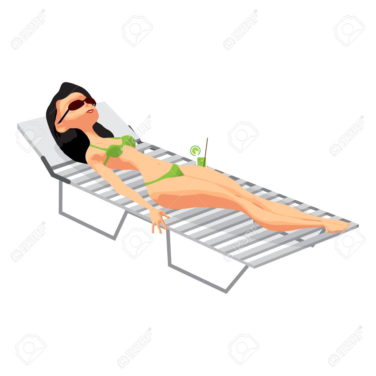 Beau Vector   Young Woman In Bikini Sunbathing Lying On The Beach In A Deck Chair.  Vector Flat Cartoon Illustration Isolated On A White Background
