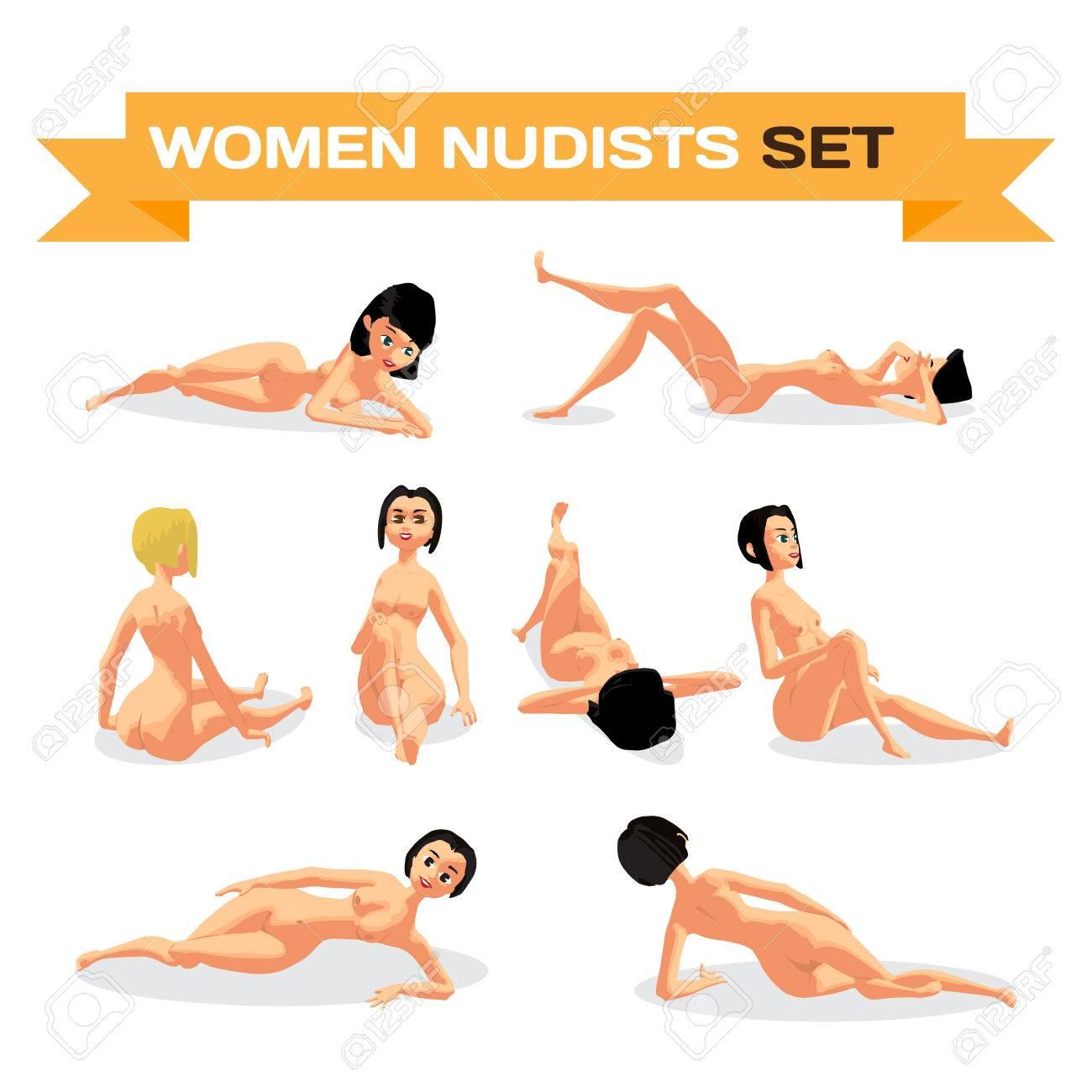 Conjunto De Mujeres Desnudas Jóvenes Tomando El Sol Tumbado En La Playa Vector Ilustración De Dibujos Animados Plana Aislado