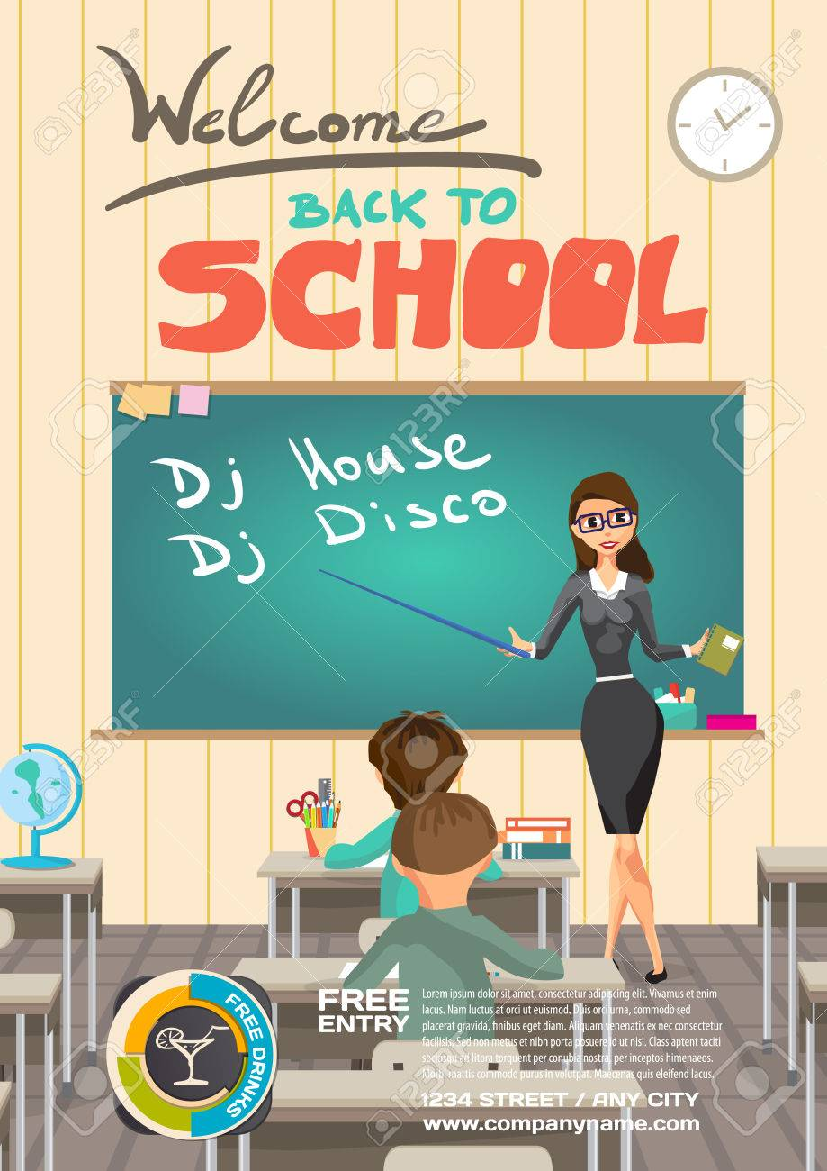 Vector school dance party invitation meeting of graduates high vector school dance party invitation meeting of graduates high school students disco posters stopboris Image collections