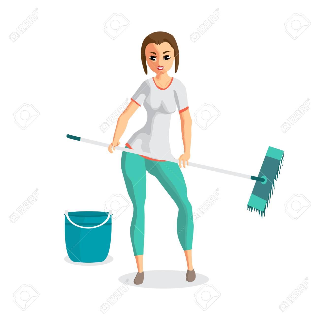 Junge Frau Hausfrau Wäscht Einen Boden Mop . Mädchen , Das ...