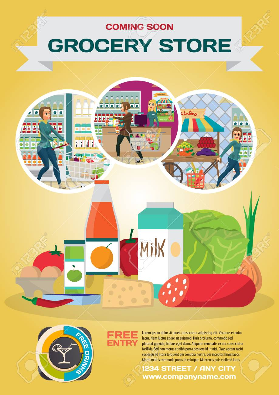 Advertising Poster Announcing The Opening Of A New Grocery Store Royalty Free Cliparts Vectors And Stock Illustration Image 90378800