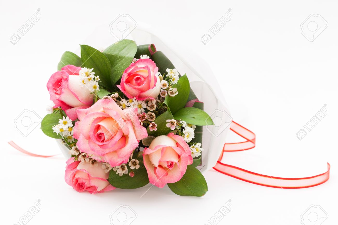 Pink Nicole Rose Bouquet With Wax Flower Stock Photo, Picture And ...