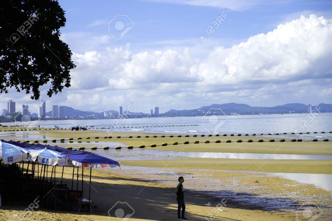 colour full beach  pattaya chonburi thailand  with blue sky