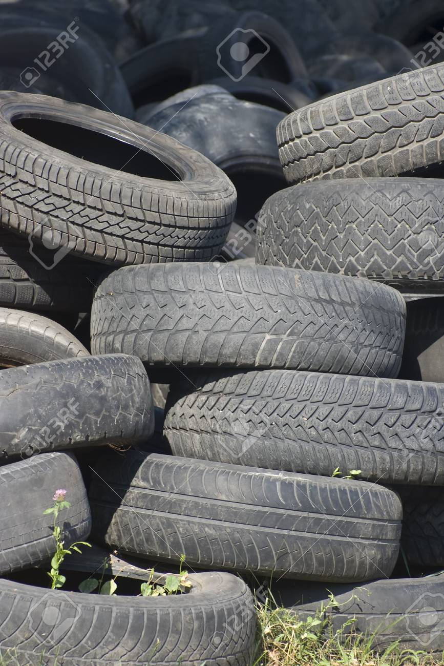 Pile of used old rubber tire Stock Photo - 24055142