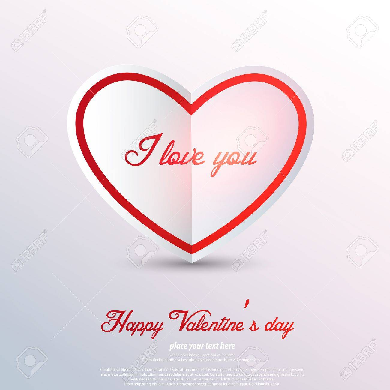 Paper heart Valentines day card. Stock Vector - 17538375