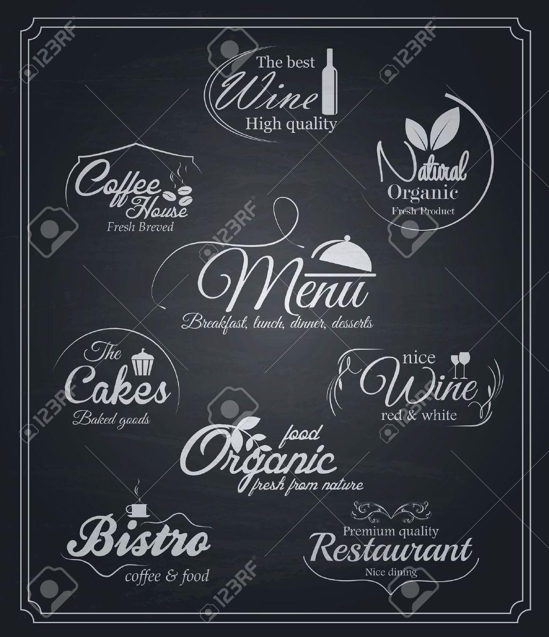 Tafel Speisen Und Getränke Etiketten. Vector Lizenzfrei Nutzbare ...
