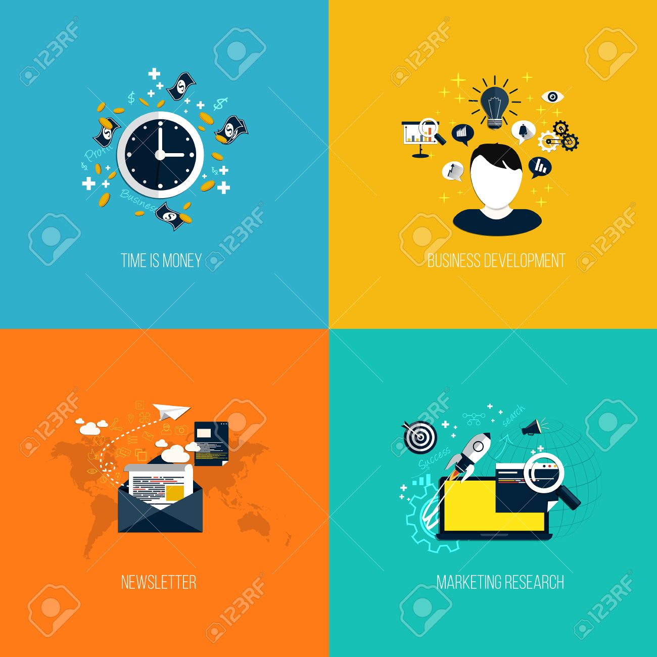 Icons for time is money, business development, newsletter and marketing research. Flat style. Vector Stock Vector - 27392870