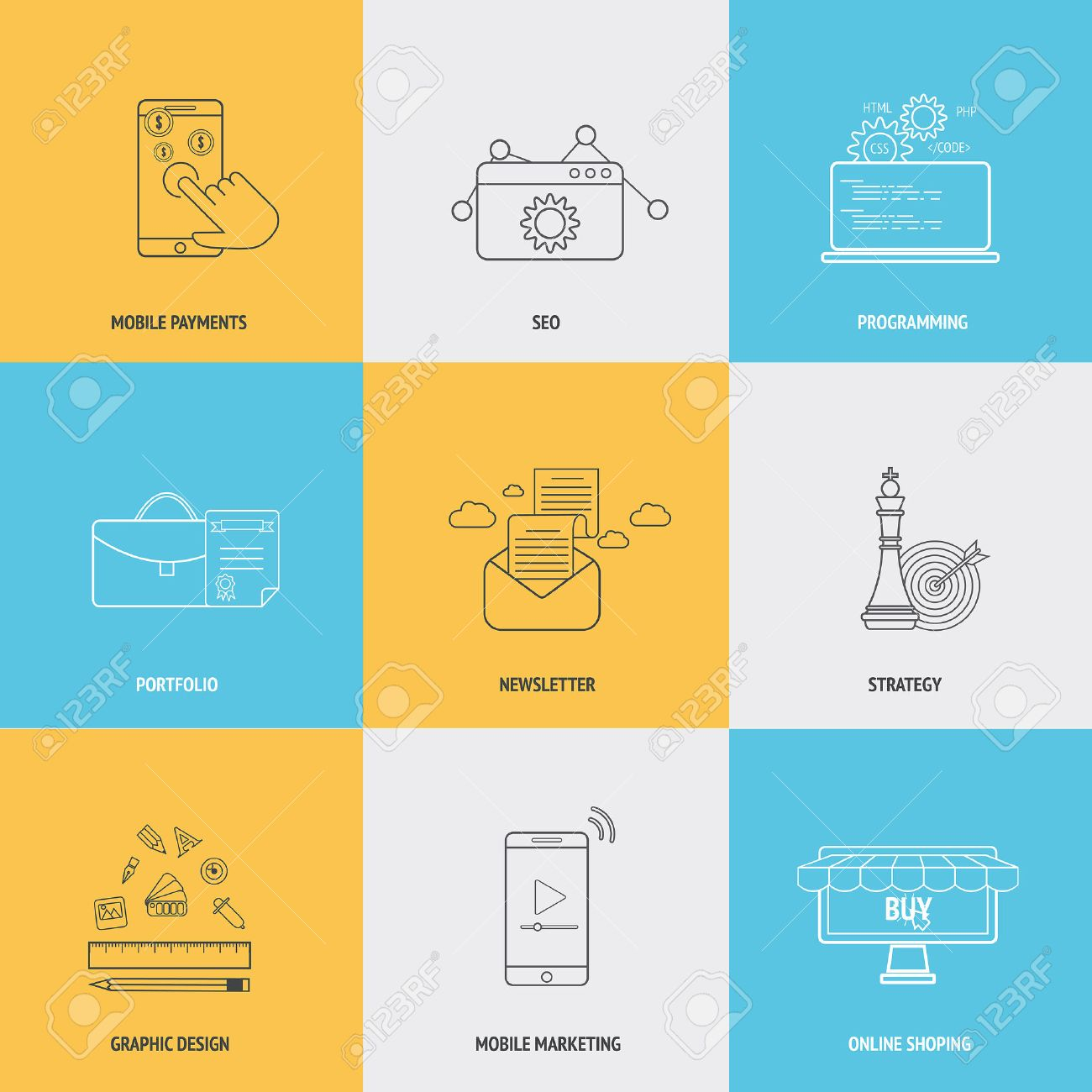 Set Of Flat Line Icons Concepts Of Mobile Payments,seo ...