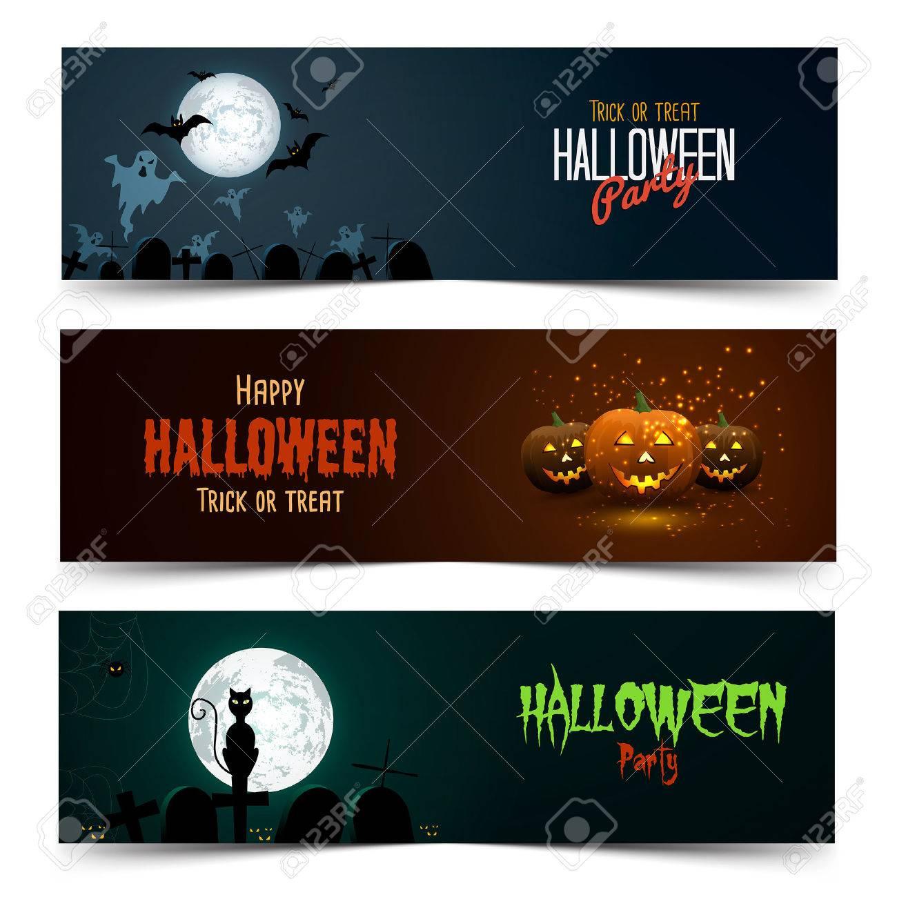 happy halloween banner set vector royalty free cliparts vectors rh 123rf com Halloween Sign Vector PNG Vector Scroll