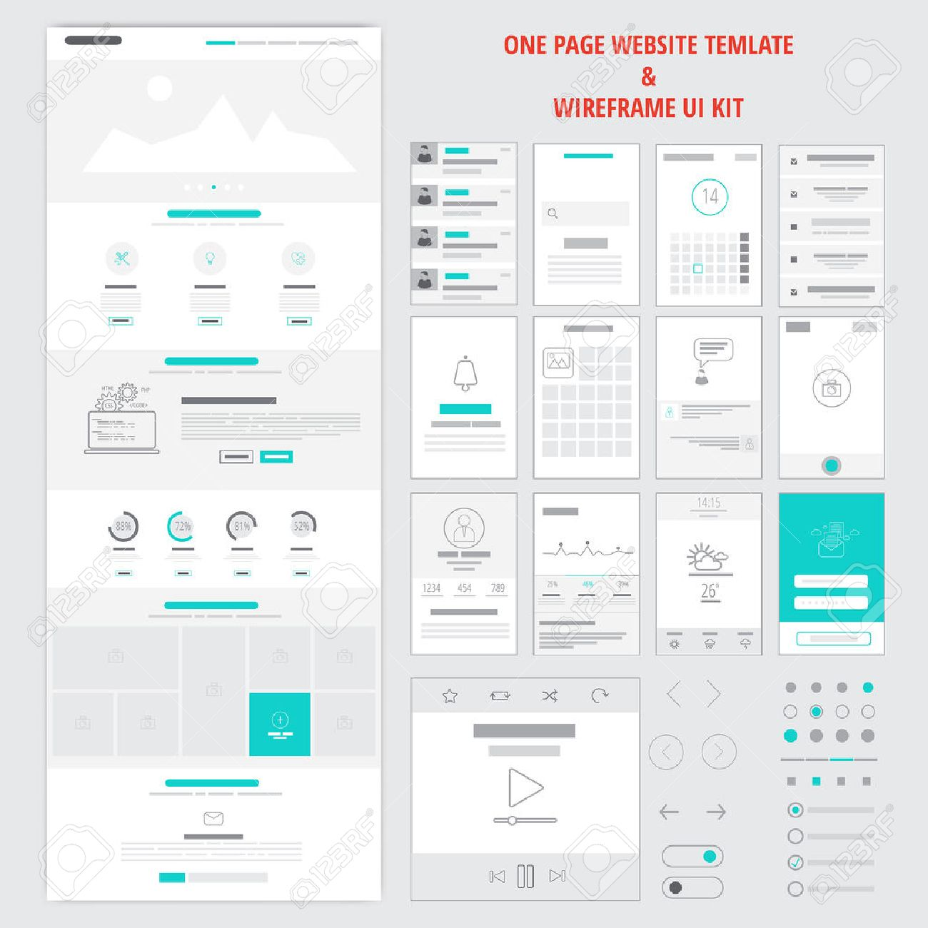 Fllat Responsive One Page Website Template And Mobile App Wireframe